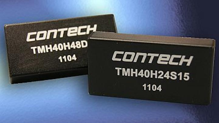 40-Watt DC-DC converter power supplies for still-air environments introduced by Contech