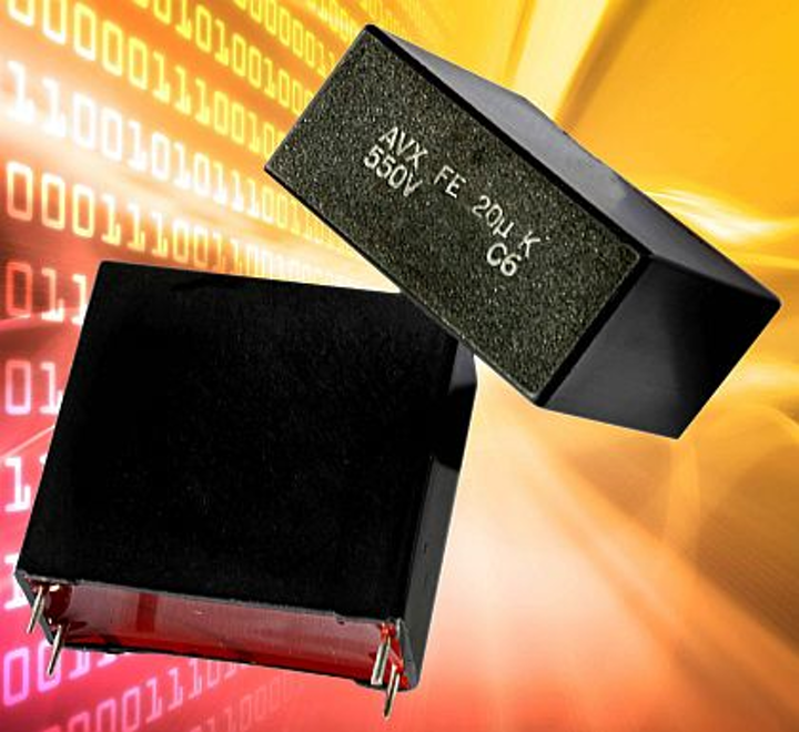 Four-leaded DC link film capacitors for power supplies and inverters introduced by AVX