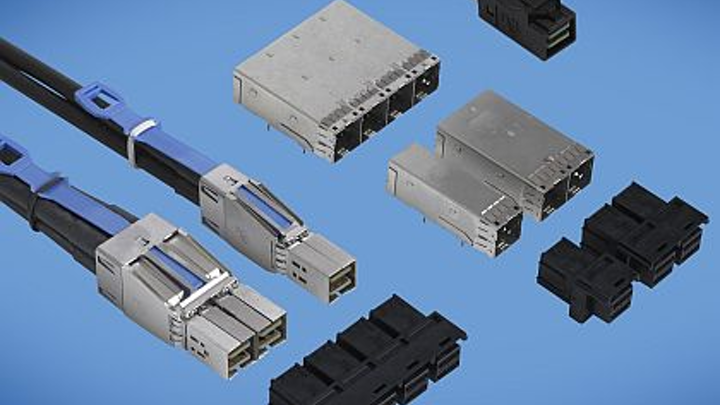 Board connectors and cable assemblies for SAS 2.1 and SAS 3.0 signaling introduced by FCI