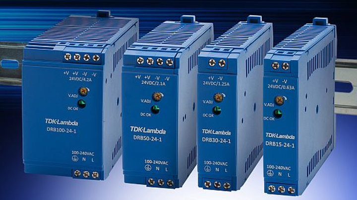 DIN rail power supplies for low-power industrial, automation, and process control offered by TDK Lambda