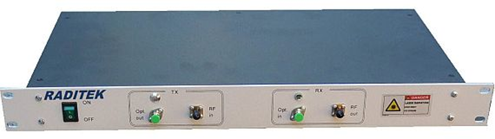 RF-over-fiber transceivers that operate on frequencies from 10 to 12 GHz introduced by Raditek