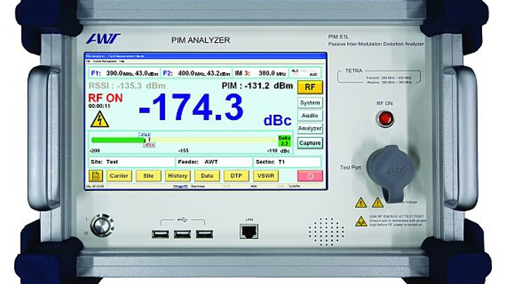 PIM analyzers for testing terrestrial trunked radio and UHF networks introduced by AWT Global