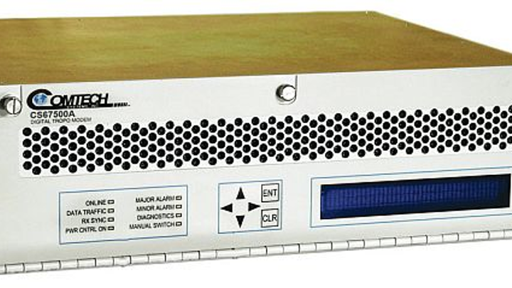 50 megabit-per-second troposcatter modem for military communications introduced by Comtech