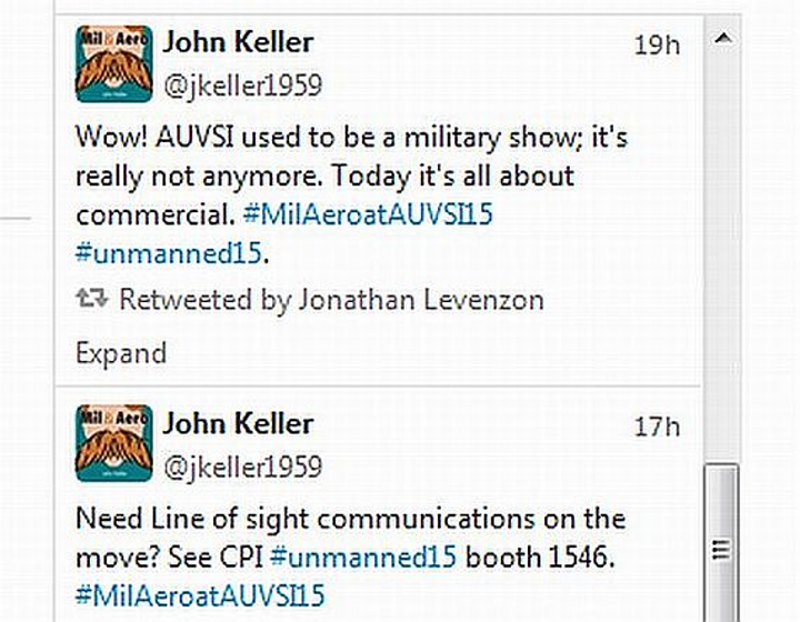 Live twitter feeds this week from AUVSI from Military & Aerospace Electronics and Intelligent Aerospace