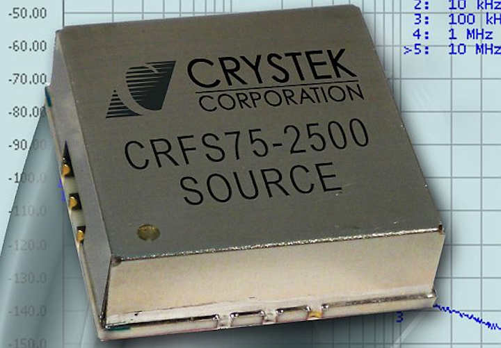 RF and microwave 2.5 GHz phase locked clock source for avionics and radios introduced by Crystek