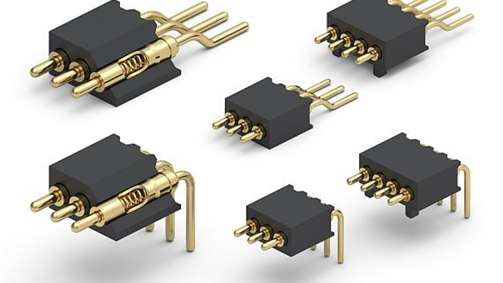 Spring-loaded right angle and horizontal SMT connectors for mating boards offered by Mill-Max