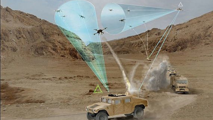 DARPA MFP drone-defense program seeks to protect moving convoys from swarms of attacking small UAVs