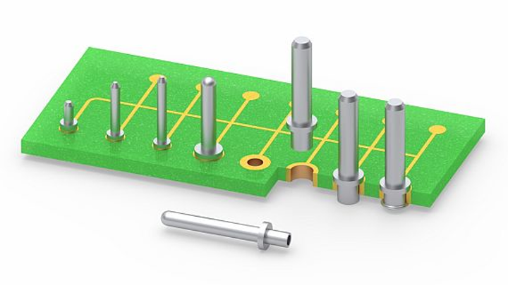 Swage-mount circuit board pins for board-to-board interconnects introduced by Mill-Max