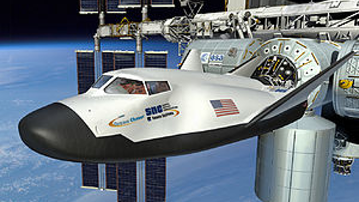 Rendering of a Dream Chaser docked at the ISS