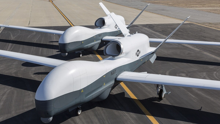 The U.S. Navy Northrop Grumman MQ-4C Triton is a large whale-like unmanned aircraft designed for long-range surveillance and maritime patrol.