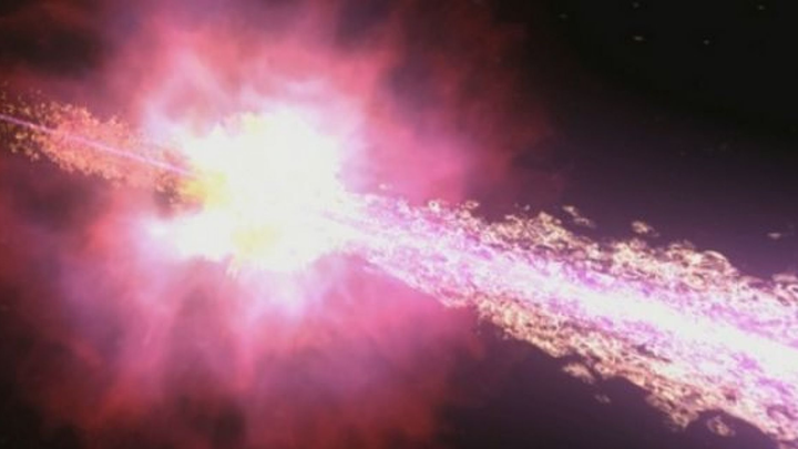 Gamma rays are the most energetic form of light produced by the hottest regions of the universe, such as in this gamma-ray burst, shown here.