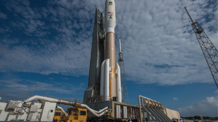 The Atlas 5 rocket, shown above, is one of today's primary launch vehicles for U.S. military satellites.
