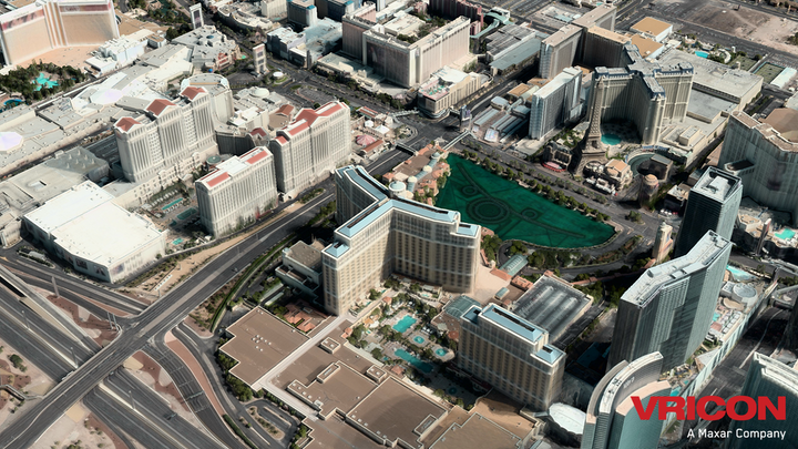 Vricon combines stereophotogrammetry and big data processing to produce its 3D models-like this one of Las Vegas, using real textures and 3-meter absolute accuracy in all dimensions.